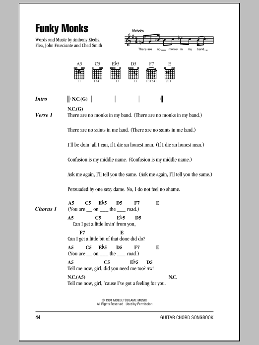 Funky Monks by Red Hot Chili Peppers - Guitar Chords/Lyrics - Guitar ...