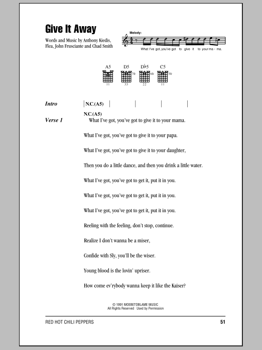 Give It Away Sheet Music