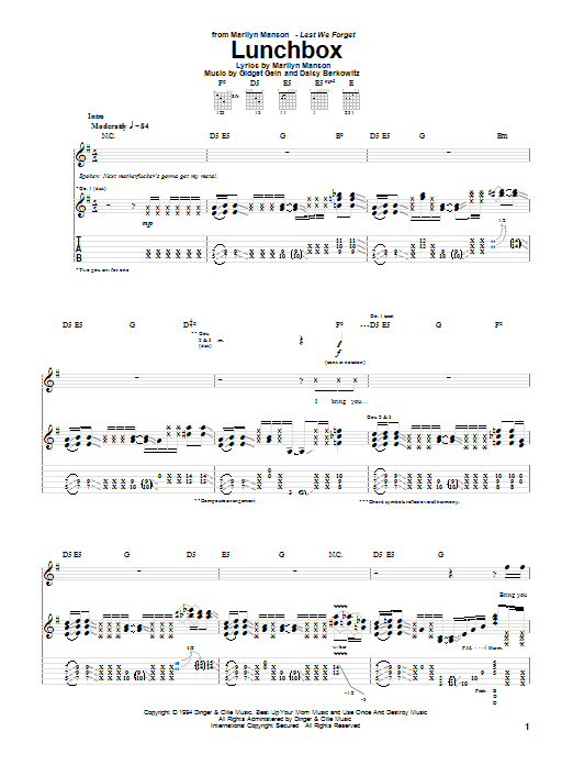 Sweet Dreams Marilyn Manson Guitar Chords Gallery Guitar Chords