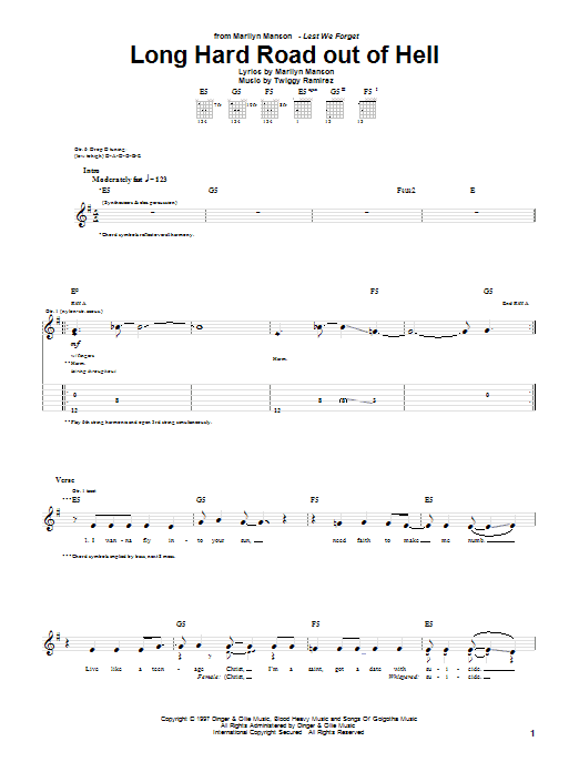 Long Hard Road Out Of Hell Sheet Music