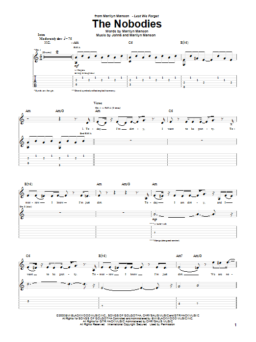 The Nobodies Sheet Music