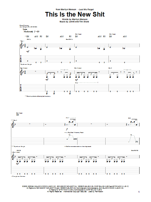 This Is The New Shit Sheet Music