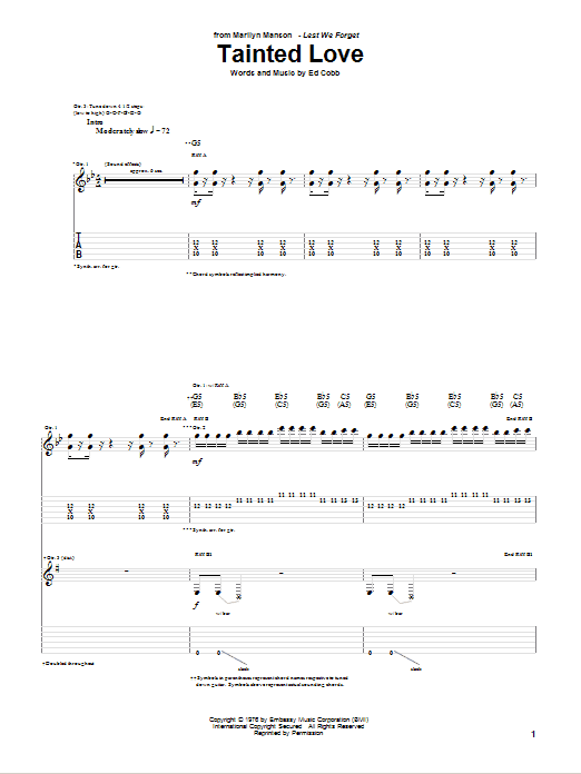 Tablature guitare Tainted Love de Marilyn Manson - Tablature Guitare