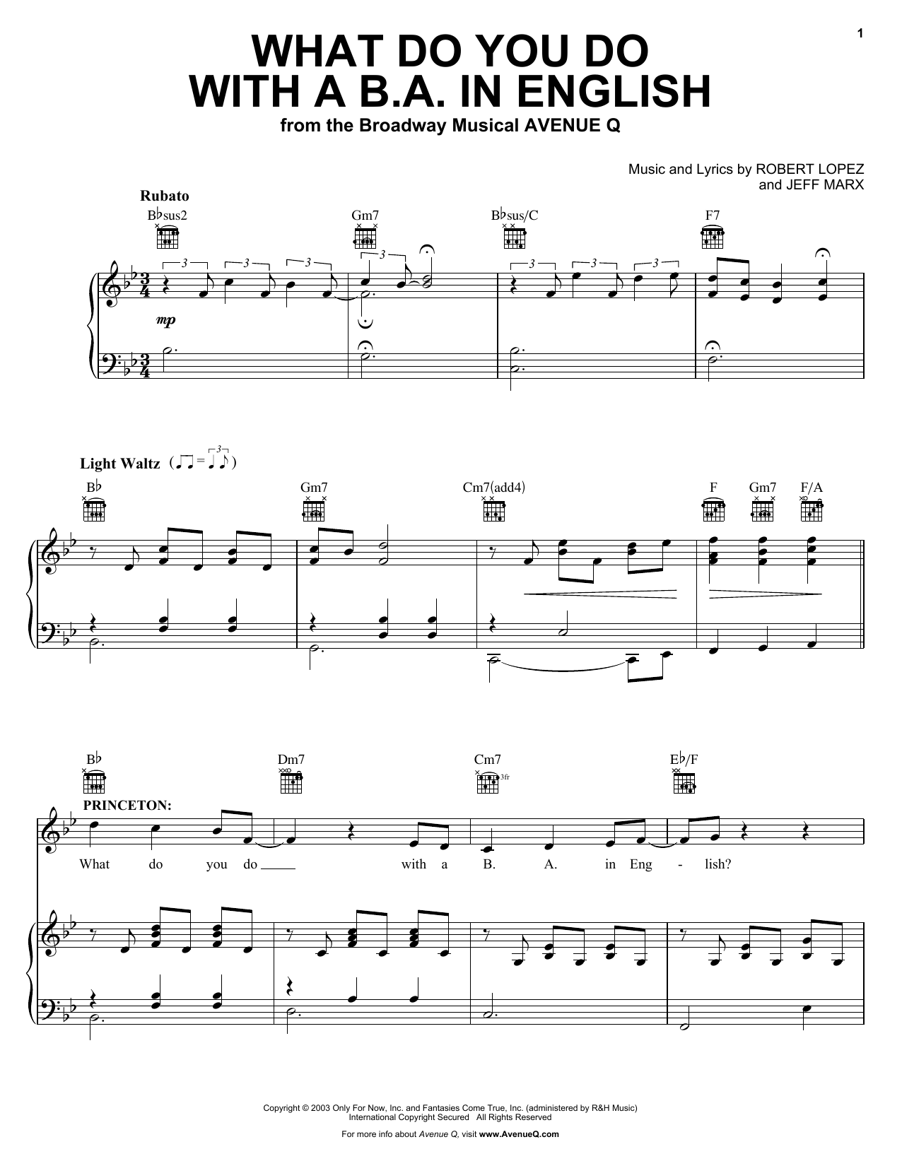 Partition piano What Do You Do With A B.A. In English de Avenue Q - Piano Voix Guitare (Mélodie Main Droite)