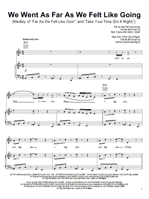 We Went As Far As We Felt Like Going (from Shark Tale) Sheet Music
