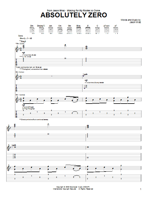 Tablature guitare Absolutely Zero de Jason Mraz - Tablature Guitare