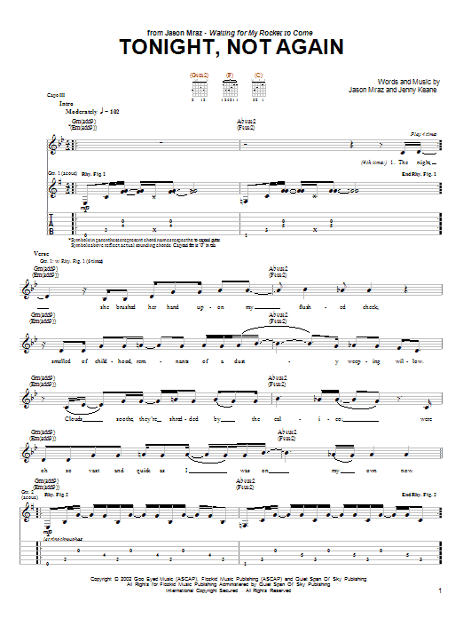 Tonight, Not Again (Guitar Tab)