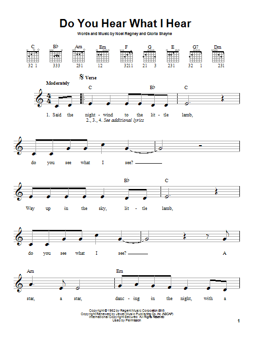 Tablature guitare Do You Hear What I Hear de Gloria Shayne - Tablature guitare facile