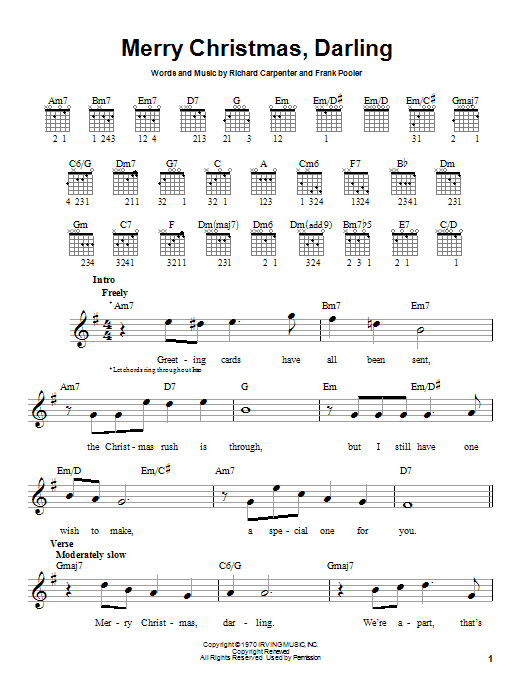 Tablature guitare Merry Christmas, Darling de Carpenters - Tablature guitare facile