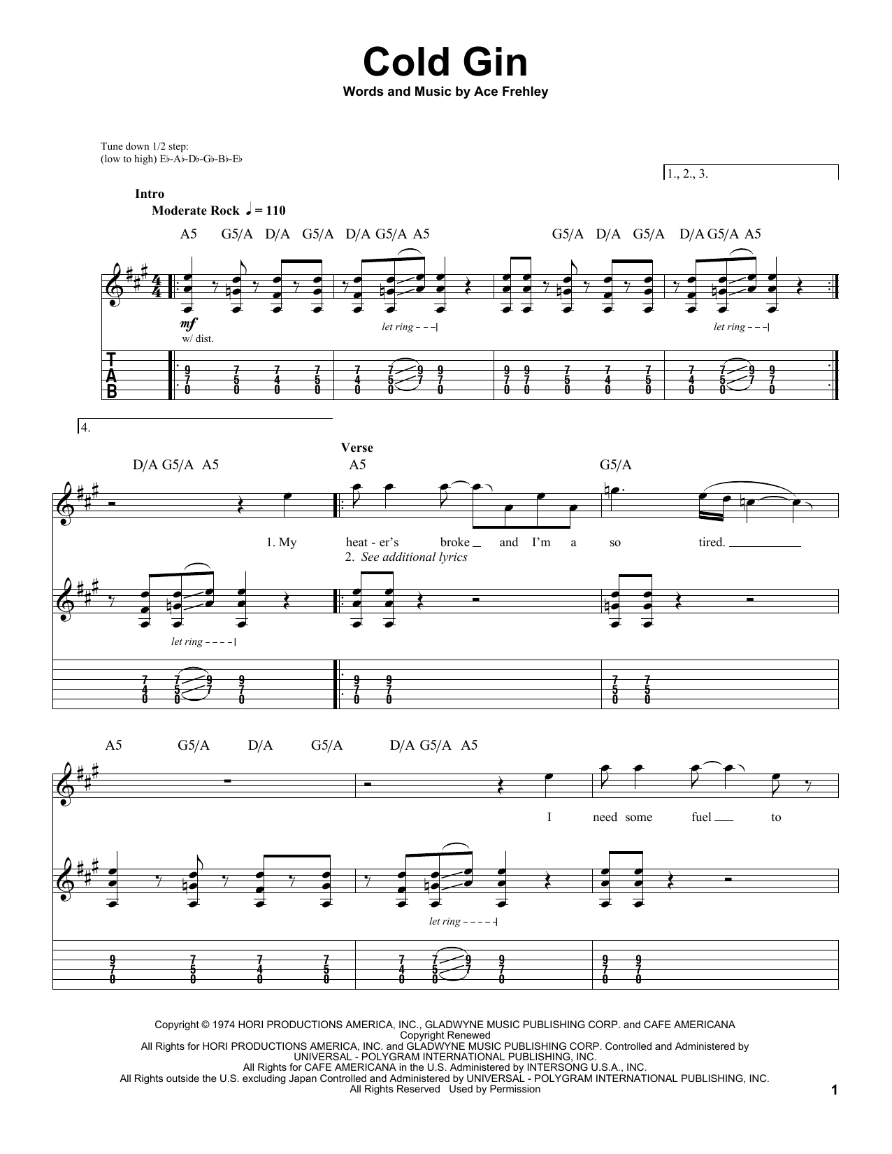 Cold Gin (Guitar Tab (Single Guitar))