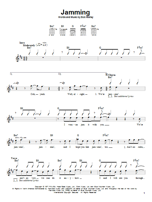 Tablature guitare Jamming de Bob Marley - Tablature guitare facile