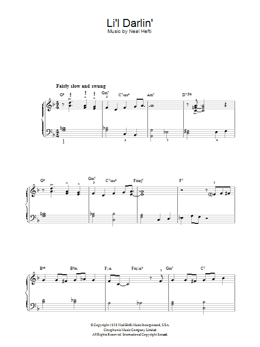 Li'l Darlin' (Piano, Vocal & Guitar)