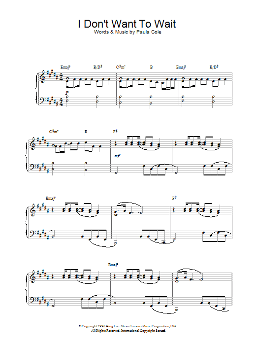I Don't Want To Wait (theme from Dawson's Creek) Sheet Music