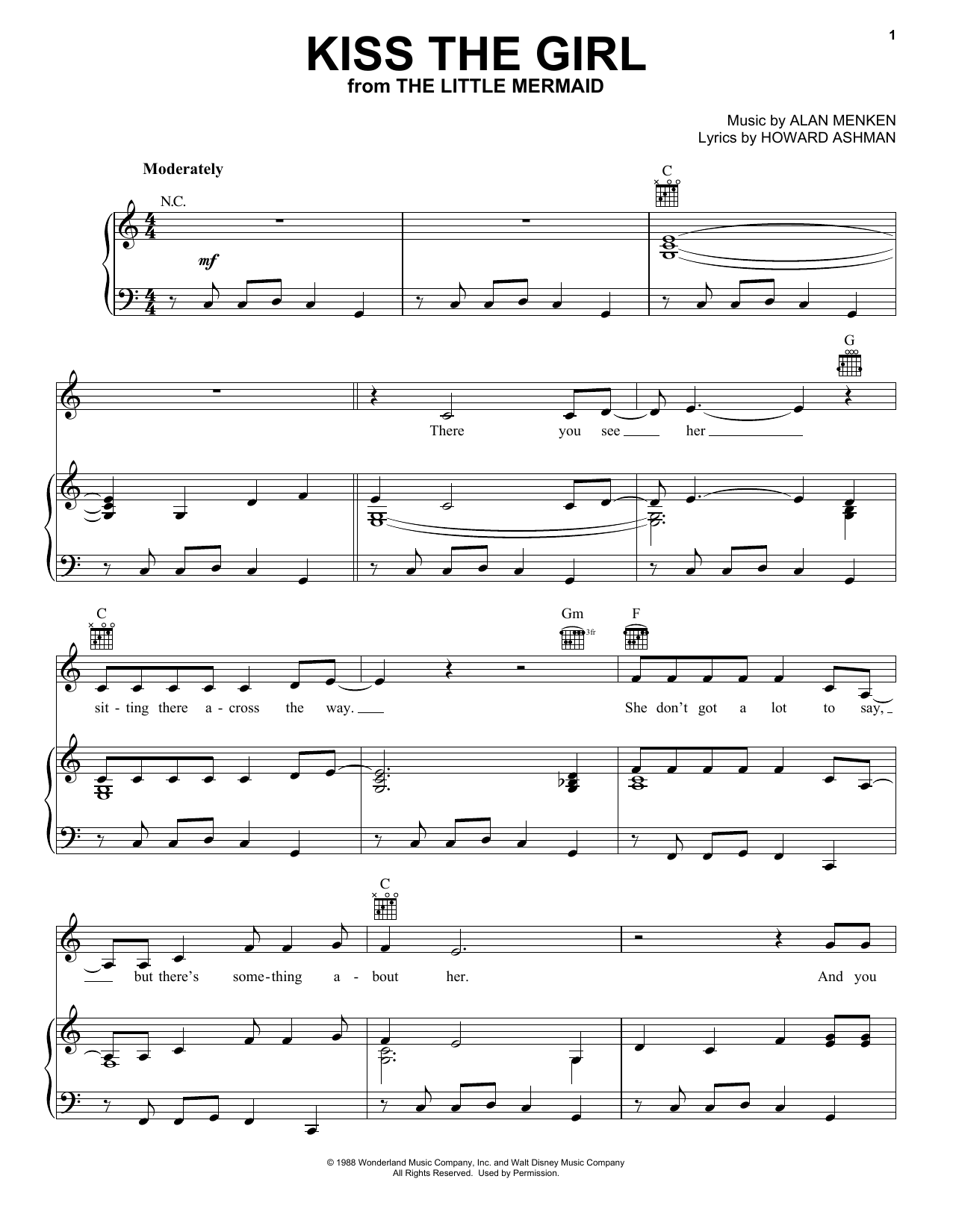 Kiss The Girl Sheet Music