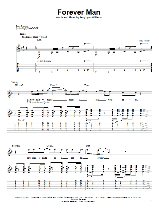 Tablature guitare Forever Man de Eric Clapton - Playback Guitare