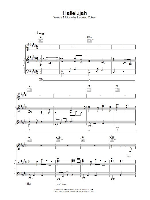Hal Leonard Hallelujah by Leonard Cohen arranged for piano