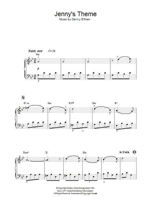 Jenny's Theme (from Big Fish) Sheet Music