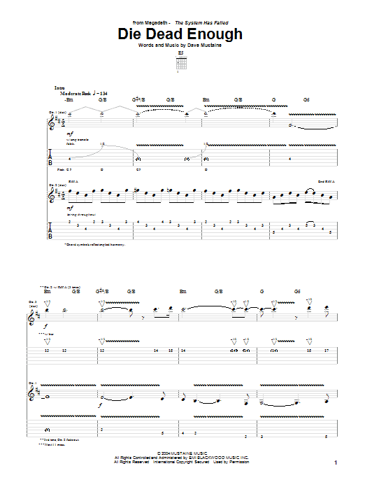 Tablature guitare Die Dead Enough de Megadeth - Tablature Guitare