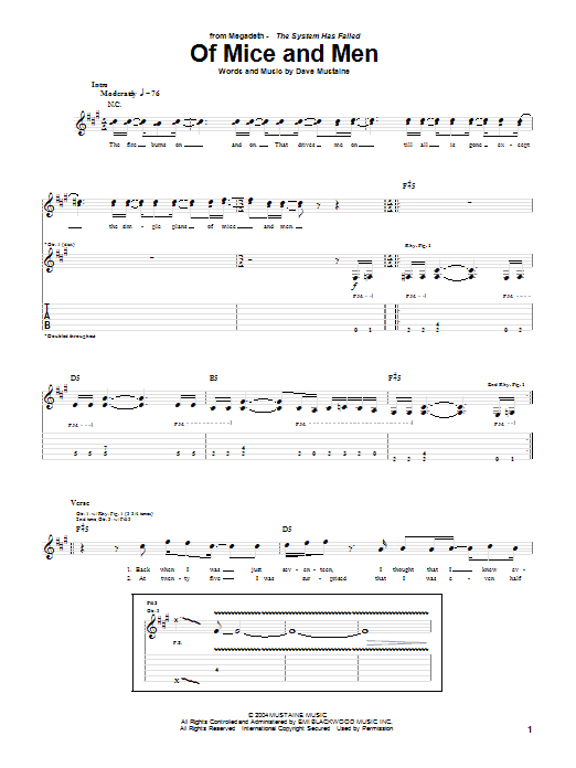 Of Mice And Men Sheet Music