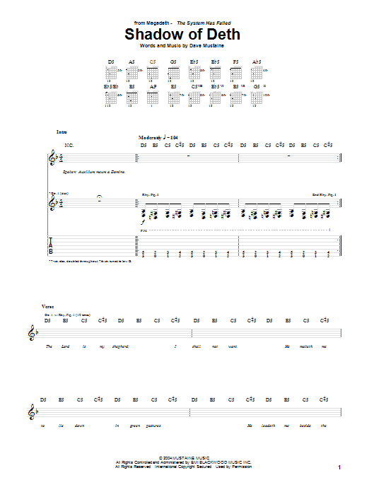 Tablature guitare Shadow Of Deth de Megadeth - Tablature Guitare