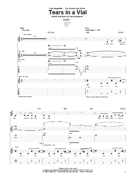 Tablature guitare Tears In A Vial de Megadeth - Tablature Guitare