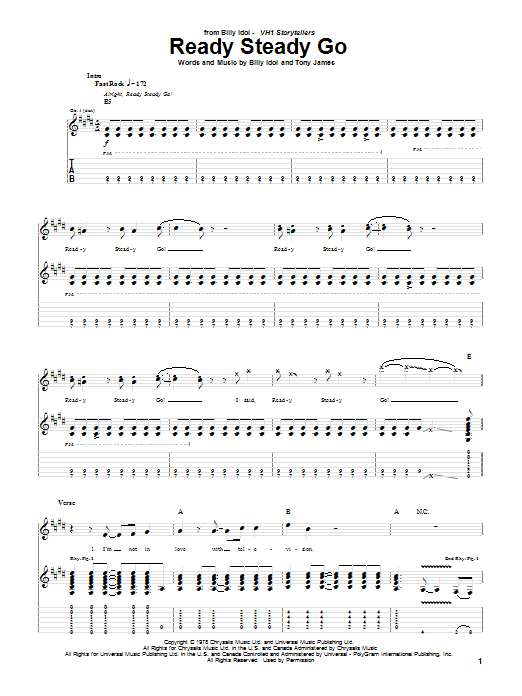 Tablature guitare Ready Steady Go de Billy Idol - Tablature Guitare