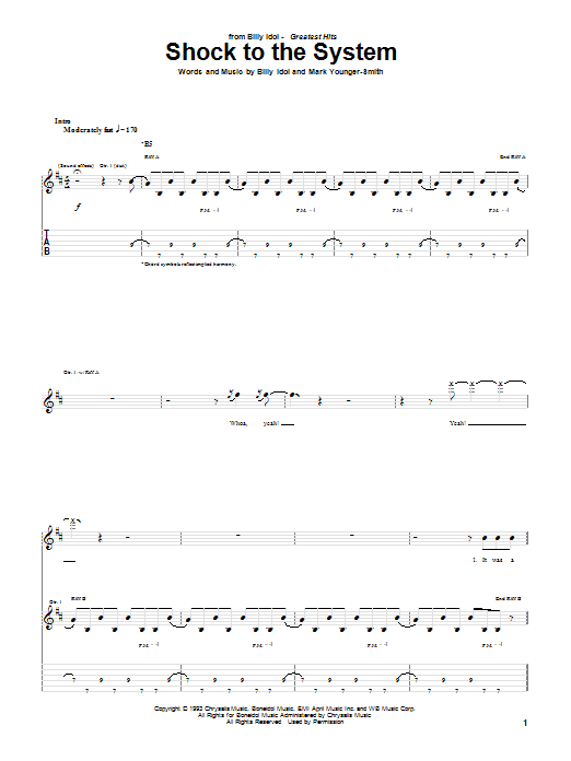 Tablature guitare Shock To The System de Billy Idol - Tablature Guitare
