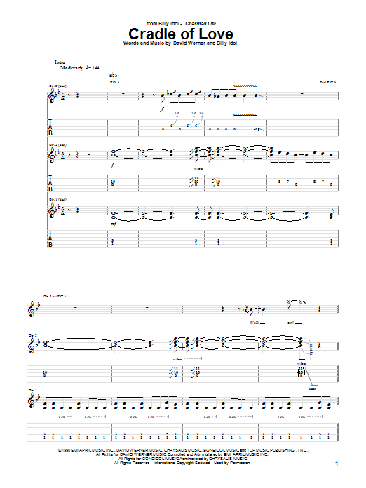 Cradle Of Love (Guitar Tab)