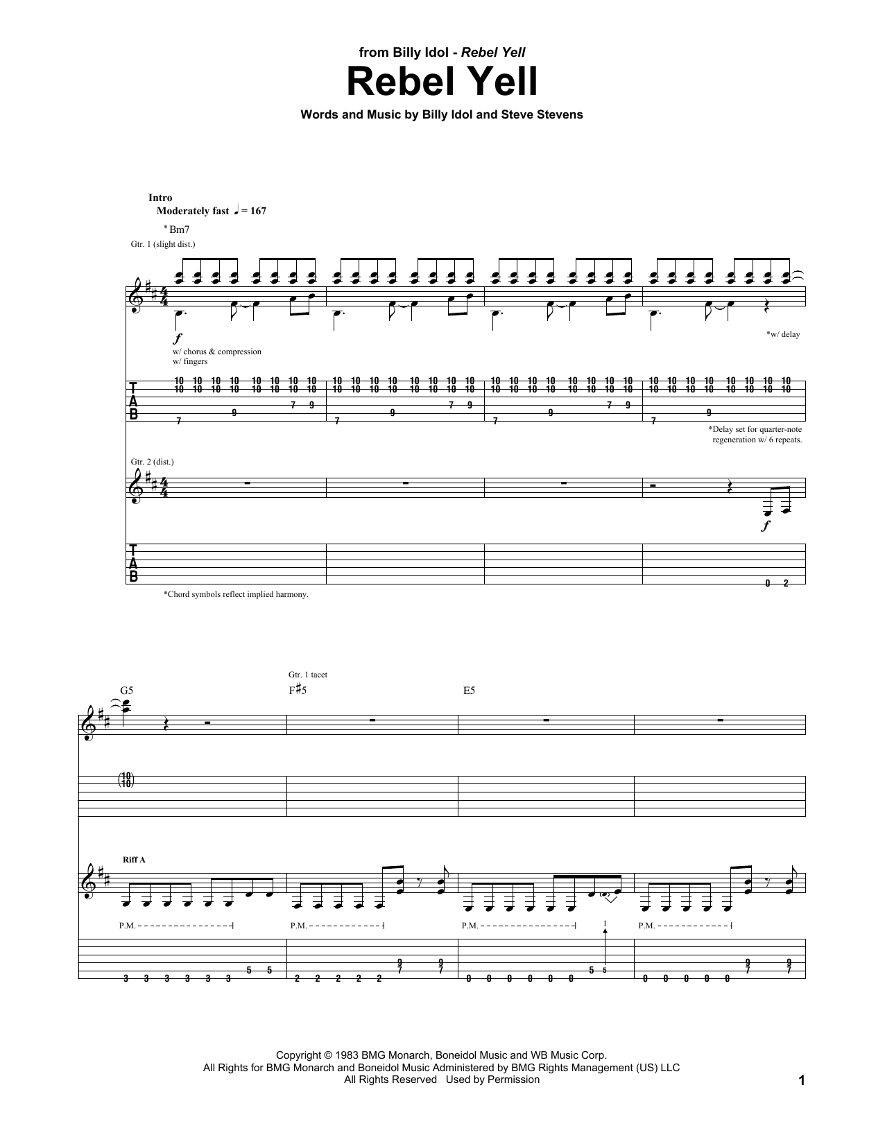 Tablature guitare Rebel Yell de Billy Idol - Tablature Guitare