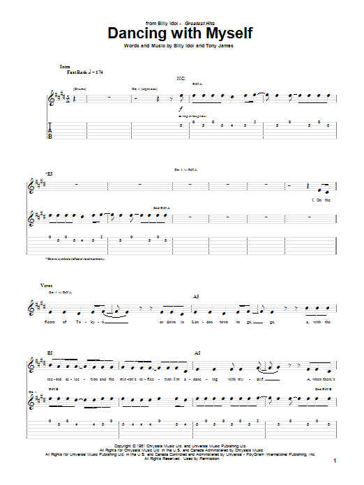 Tablature guitare Dancing With Myself de Billy Idol - Tablature Guitare