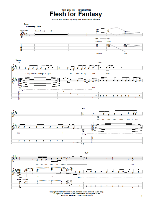 Tablature guitare Flesh For Fantasy de Billy Idol - Tablature Guitare