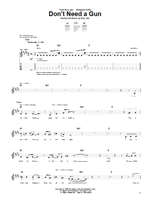 Tablature guitare Don't Need A Gun de Billy Idol - Tablature Guitare