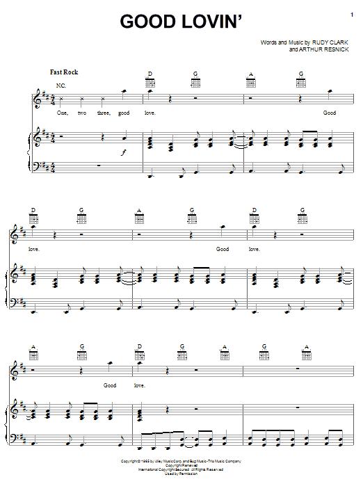 Partition piano Good Lovin' de Young Rascals - Piano Voix Guitare (Mélodie Main Droite)