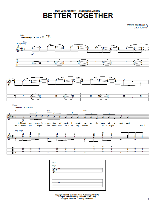 Tablature guitare Better Together de Jack Johnson - Tablature Guitare
