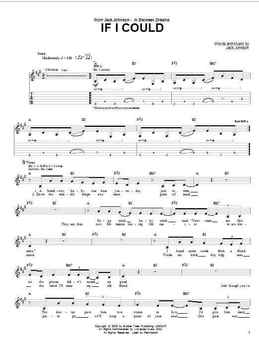 Tablature guitare If I Could de Jack Johnson - Tablature Guitare