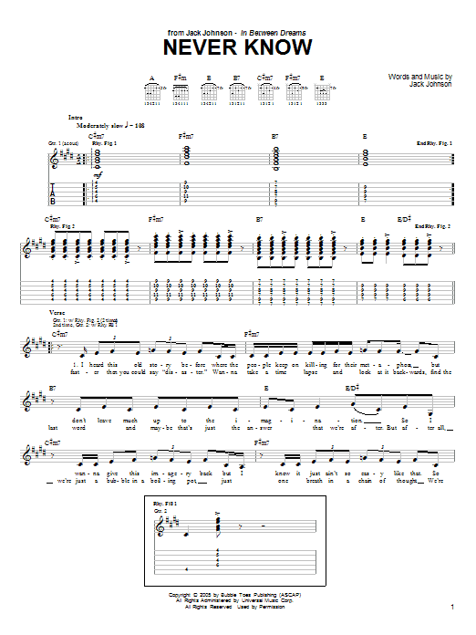 Tablature guitare Never Know de Jack Johnson - Tablature Guitare