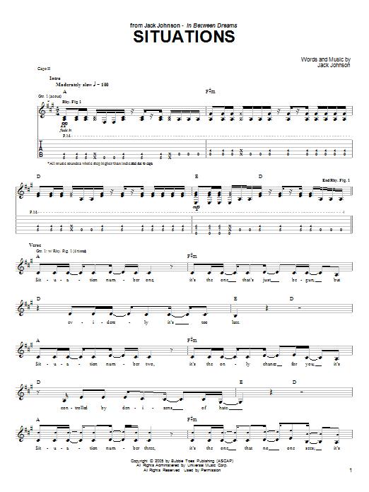 Tablature guitare Situations de Jack Johnson - Tablature Guitare