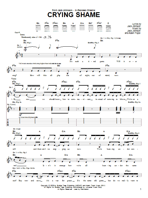 Crying Shame Sheet Music