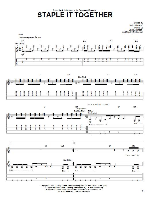 Tablature guitare Staple It Together de Jack Johnson - Tablature Guitare