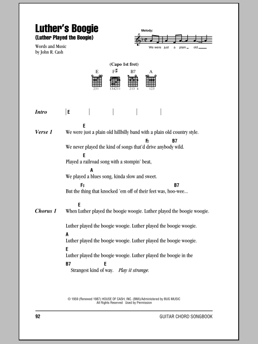 Luther's Boogie (Luther Played The Boogie) (Guitar Chords/Lyrics)