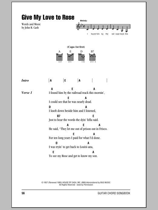 Give My Love To Rose Sheet Music Direct