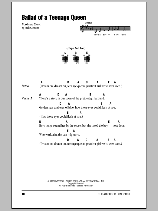 Ballad Of A Teenage Queen Sheet Music Johnny Cash Lyrics Chords
