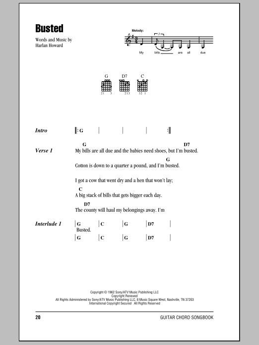 Busted (Guitar Chords/Lyrics)
