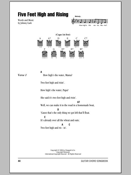 Five Feet High And Rising (Guitar Chords/Lyrics)