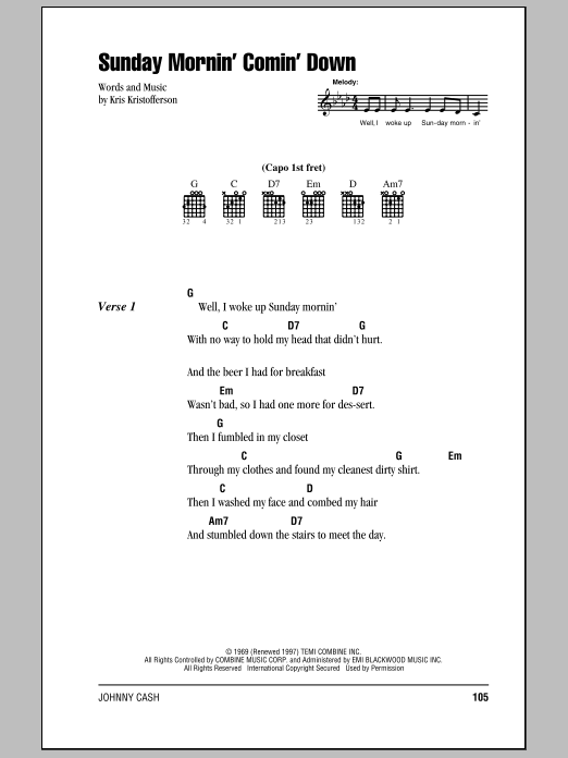 Sunday Mornin' Comin' Down Sheet Music
