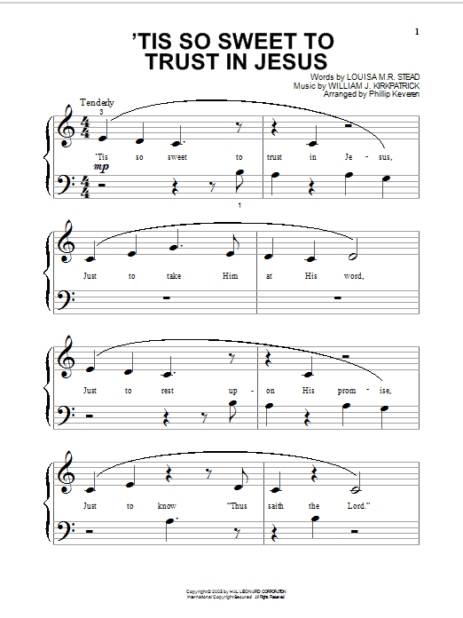 Partition piano 'Tis So Sweet To Trust In Jesus de Louisa M.R. Stead - Autre