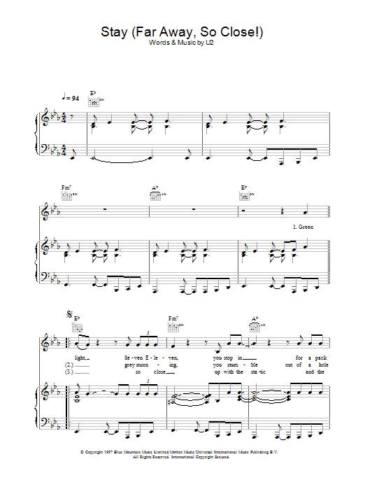 Stay (Faraway, So Close!) Sheet Music