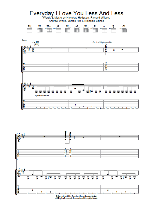 Everyday I Love You Less And Less (Guitar Tab)