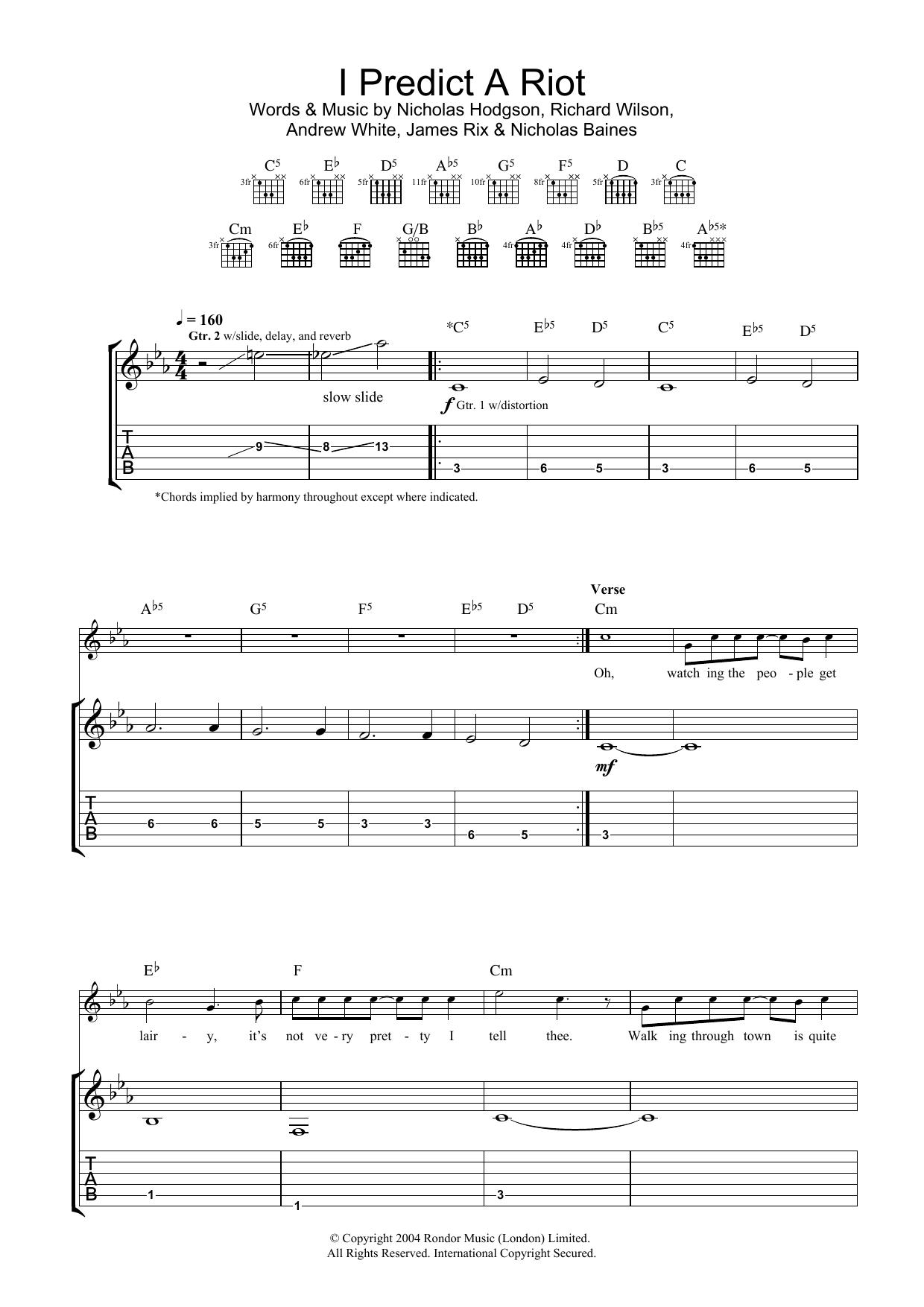 I Predict A Riot (Guitar Tab)