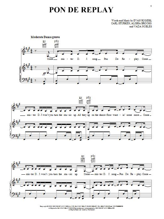Pon De Replay Sheet Music